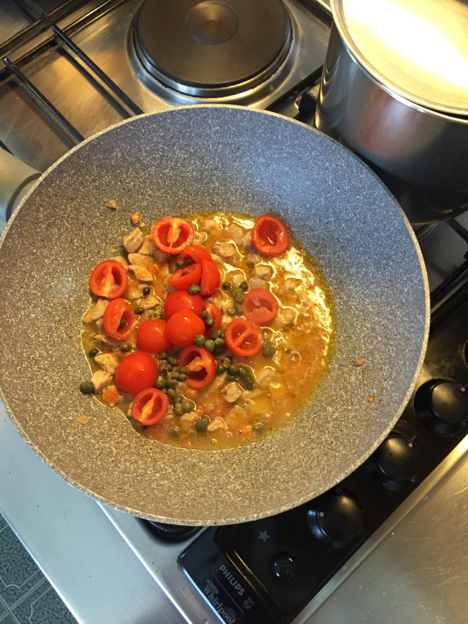 add the pachino tomatoes, olives and capers, salt and peppers